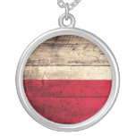 Bandera de madera vieja de Polonia Joyeria Personalizada