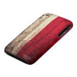 Bandera de madera vieja de Polonia iPhone 3 Case-Mate Coberturas