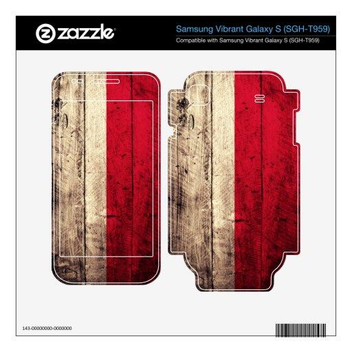 Bandera de madera vieja de Polonia; Samsung Vibrant Calcomanía