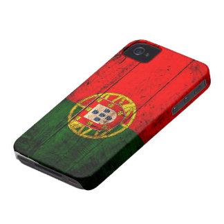 Bandera de madera vieja de Portugal iPhone 4 Carcasa