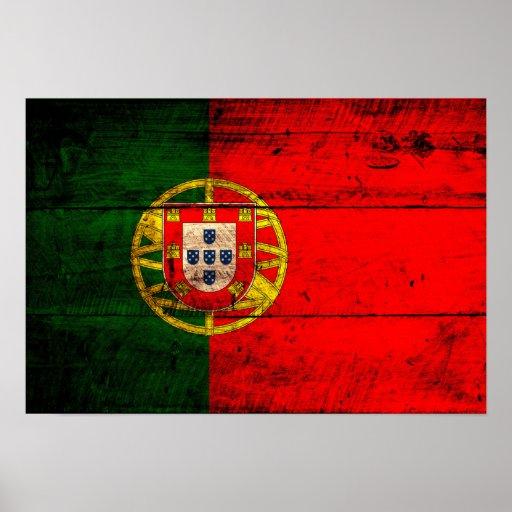Bandera de madera vieja de Portugal Poster