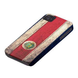 Bandera de madera vieja de Rican de la costa iPhone 4 Fundas