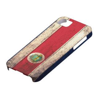 Bandera de madera vieja de Rican de la costa iPhone 5 Carcasa