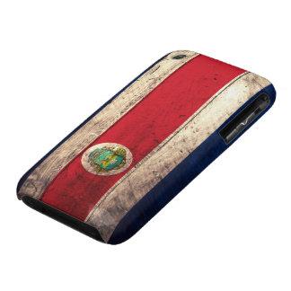 Bandera de madera vieja de Rican de la costa iPhone 3 Cárcasas