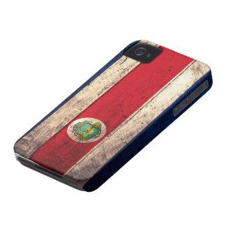 Bandera de madera vieja de Rican de la costa Case-Mate iPhone 4 Carcasas