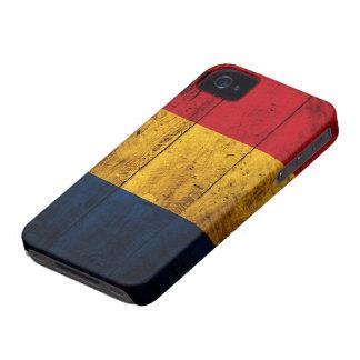 Bandera de madera vieja de Rumania Case-Mate iPhone 4 Cárcasas