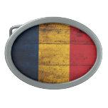 Bandera de madera vieja de Rumania Hebillas Cinturon