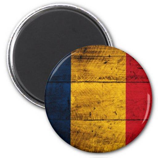 Bandera de madera vieja de Rumania Imanes Para Frigoríficos