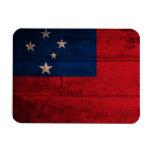 Bandera de madera vieja de Samoa Imanes Rectangulares