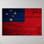Bandera de madera vieja de Samoa Posters