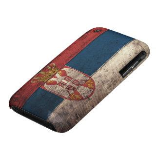 Bandera de madera vieja de Serbia iPhone 3 Case-Mate Carcasa