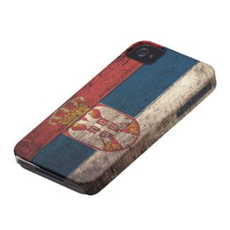 Bandera de madera vieja de Serbia iPhone 4 Case-Mate Coberturas