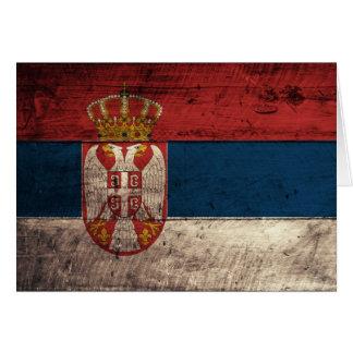 Bandera de madera vieja de Serbia Tarjeta Pequeña