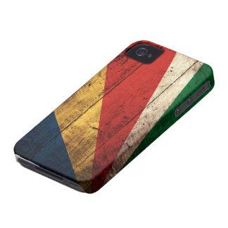 Bandera de madera vieja de Seychelles iPhone 4 Carcasas