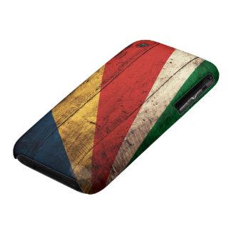 Bandera de madera vieja de Seychelles Case-Mate iPhone 3 Fundas