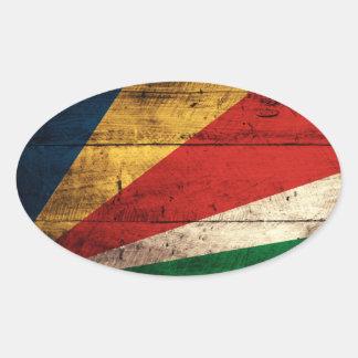 Bandera de madera vieja de Seychelles Pegatina Ovalada