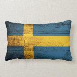 Bandera de madera vieja de Suecia Almohadas
