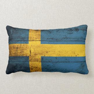 Bandera de madera vieja de Suecia Cojín Lumbar