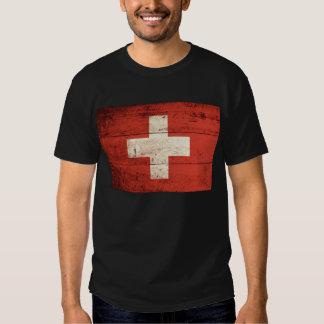 Bandera de madera vieja de Suiza Remeras