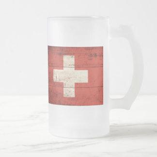 Bandera de madera vieja de Suiza Taza De Café