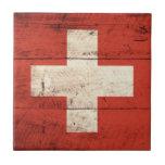 Bandera de madera vieja de Suiza Tejas Cerámicas