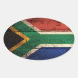 Bandera de madera vieja de Suráfrica Calcomania Ovaladas Personalizadas