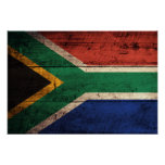 Bandera de madera vieja de Suráfrica Posters