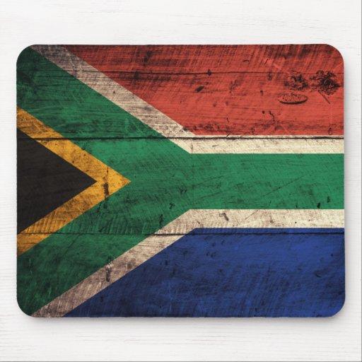 Bandera de madera vieja de Suráfrica Tapete De Ratón