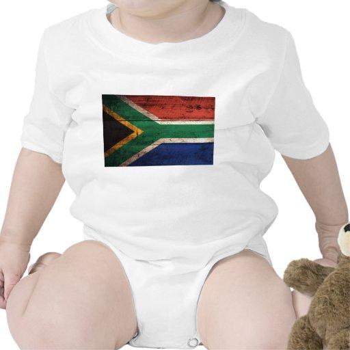 Bandera de madera vieja de Suráfrica Traje De Bebé