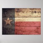 Bandera de madera vieja de Tejas Poster