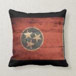 Bandera de madera vieja de Tennessee Almohadas