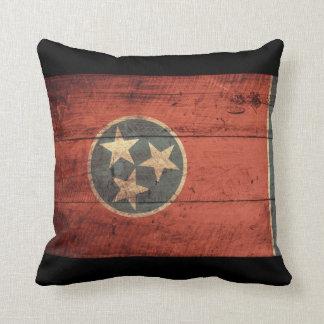 Bandera de madera vieja de Tennessee Almohada