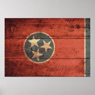 Bandera de madera vieja de Tennessee; Poster