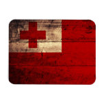 Bandera de madera vieja de Tonga Imán De Vinilo