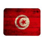 Bandera de madera vieja de Túnez Imanes Rectangulares