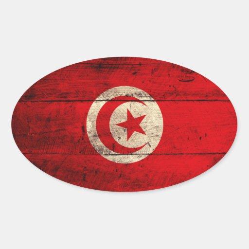 Bandera de madera vieja de Túnez Pegatinas Oval Personalizadas