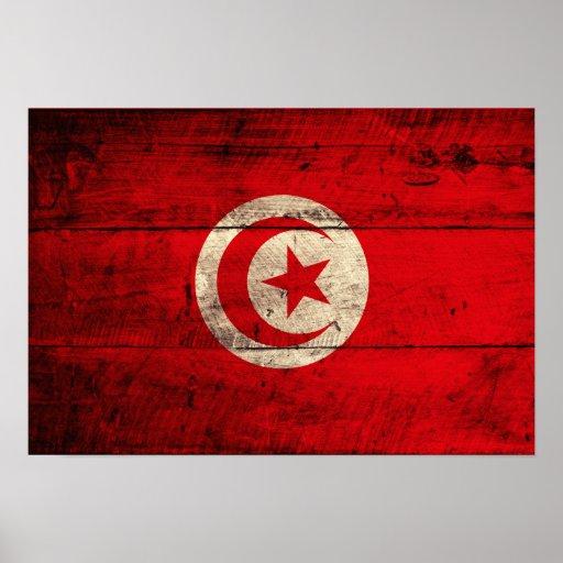 Bandera de madera vieja de Túnez Póster