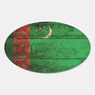 Bandera de madera vieja de Turkmenistán Calcomanía Óval