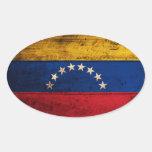 Bandera de madera vieja de Venezuela Calcomanía Oval