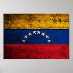 Bandera de madera vieja de Venezuela Póster