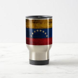 Bandera de madera vieja de Venezuela Tazas De Café