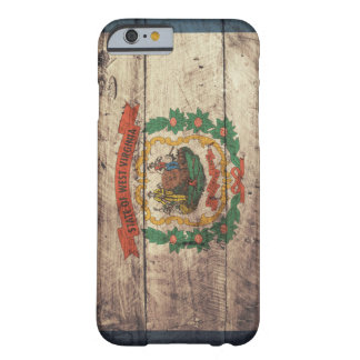 Bandera de madera vieja de Virginia Occidental Funda Para iPhone 6 Barely There