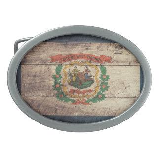 Bandera de madera vieja de Virginia Occidental Hebillas De Cinturón Ovales