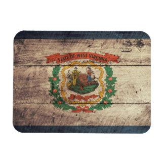 Bandera de madera vieja de Virginia Occidental Imán Flexible
