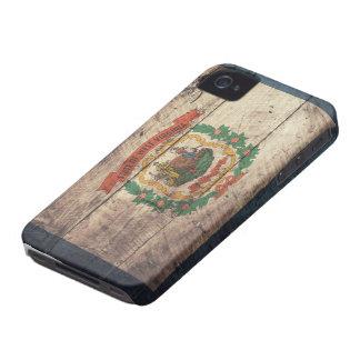 Bandera de madera vieja de Virginia Occidental iPhone 4 Protectores