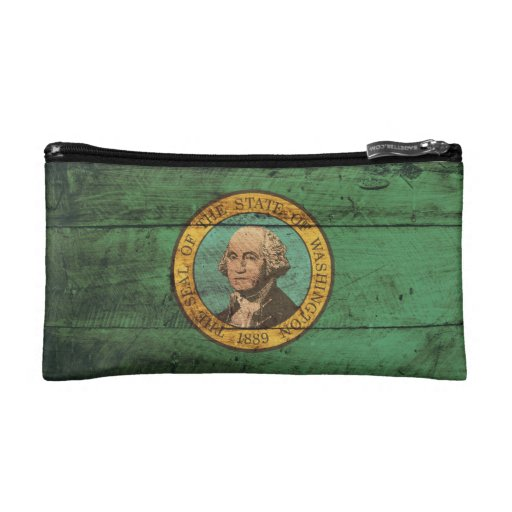 Bandera de madera vieja de Washington;