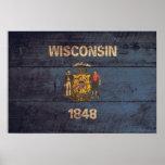 Bandera de madera vieja de Wisconsin Posters