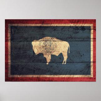 Bandera de madera vieja de Wyoming Poster