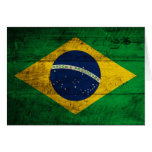 Bandera de madera vieja del Brasil Felicitacion