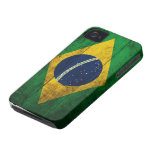 Bandera de madera vieja del Brasil iPhone 4 Case-Mate Coberturas